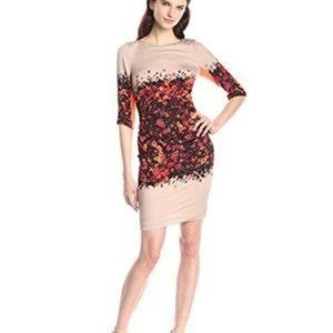 Tracy Reese Coral Floral Ruched Sheath Dress Sz 6